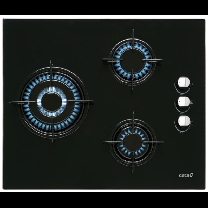 Encimera Cata CI6021BK 3fuegos Cristalgas